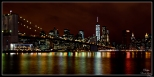 New York Brooklyn Bridge Wide Night View