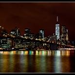 New York Brooklyn Bridge Wide Night View