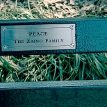 "New York Central Park Bench Quote ""Peace"""