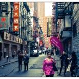 New York Chinatown Street Purple